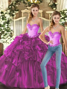 Sumptuous Sleeveless Floor Length Ruffles Lace Up Quince Ball Gowns with Fuchsia
