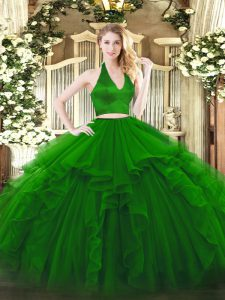 Floor Length Zipper Sweet 16 Quinceanera Dress Green for Military Ball and Sweet 16 and Quinceanera with Ruffles
