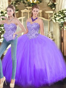 Fashionable Lavender Sleeveless Tulle Lace Up Ball Gown Prom Dress for Military Ball and Sweet 16 and Quinceanera