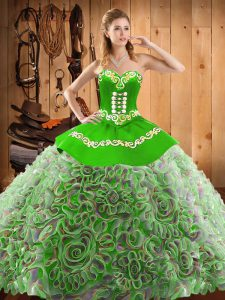 Multi-color Sweetheart Neckline Embroidery Quince Ball Gowns Sleeveless Lace Up