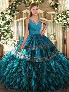 Floor Length Side Zipper Quince Ball Gowns Blue for Sweet 16 and Quinceanera with Beading and Appliques and Ruffles