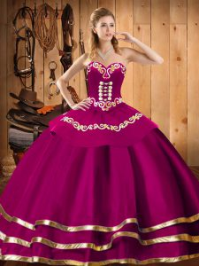 Gorgeous Fuchsia Sleeveless Organza Lace Up 15th Birthday Dress for Military Ball and Sweet 16 and Quinceanera
