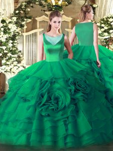 Popular Turquoise Ball Gowns Beading and Ruffled Layers Sweet 16 Dress Side Zipper Organza Sleeveless Floor Length