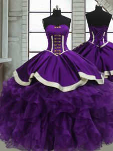 Amazing Ball Gowns Vestidos de Quinceanera Purple Sweetheart Satin and Organza Sleeveless Floor Length Lace Up