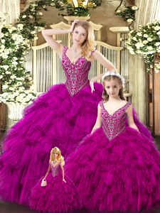 Floor Length Fuchsia Quinceanera Gowns Tulle Sleeveless Beading and Ruffles