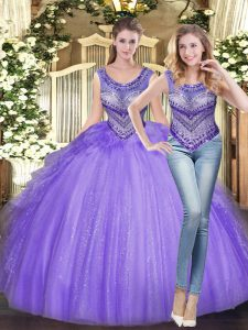 Lavender Scoop Lace Up Beading and Ruffles Quinceanera Gowns Sleeveless
