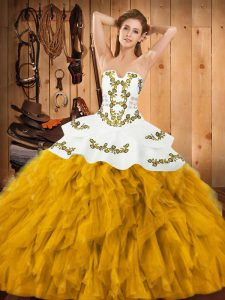 Gold Sweet 16 Dresses Military Ball and Sweet 16 and Quinceanera with Embroidery and Ruffles Strapless Sleeveless Lace Up