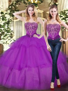 Custom Fit Eggplant Purple Sleeveless Tulle Lace Up Quinceanera Gowns for Military Ball and Sweet 16 and Quinceanera