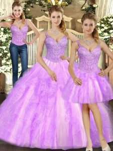 Lilac Three Pieces Organza Straps Sleeveless Beading and Ruffles Floor Length Lace Up Quinceanera Gown