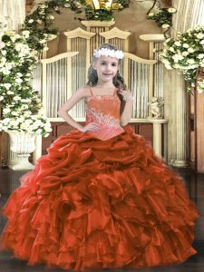 Rust Red Lace Up Straps Appliques and Ruffles Custom Made Pageant Dress Organza Sleeveless