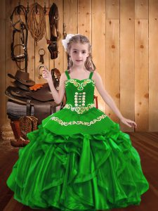 Organza Straps Sleeveless Lace Up Embroidery and Ruffles High School Pageant Dress in Green