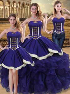 Sexy Sleeveless Floor Length Beading and Ruffles Lace Up Quinceanera Gowns with Purple