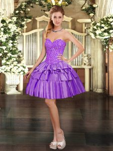 Eggplant Purple Prom Evening Gown Prom and Party with Beading and Ruffled Layers Sweetheart Sleeveless Lace Up