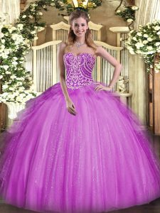 Top Selling Fuchsia Sweetheart Neckline Beading and Ruffles Sweet 16 Dresses Sleeveless Lace Up