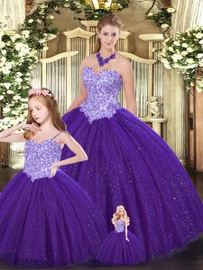 Custom Design Purple Lace Up Sweet 16 Dress Beading Sleeveless Floor Length