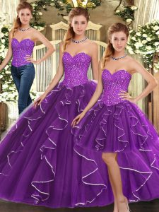 Pretty Organza Sleeveless Floor Length Quinceanera Dress and Beading and Ruffles