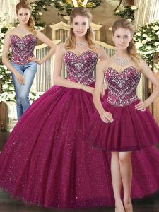 Luxurious Fuchsia Three Pieces Tulle Sweetheart Sleeveless Beading Floor Length Lace Up 15 Quinceanera Dress