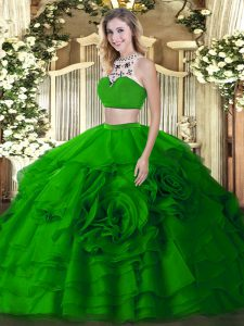 Fitting Beading and Ruffled Layers Vestidos de Quinceanera Green Backless Sleeveless Floor Length