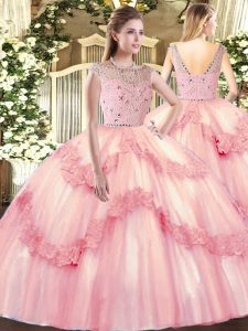 Modern Beading and Appliques Quinceanera Dress Baby Pink Zipper Sleeveless Floor Length