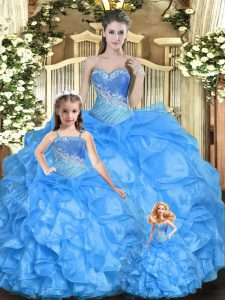 Floor Length Baby Blue Sweet 16 Quinceanera Dress Sweetheart Sleeveless Lace Up