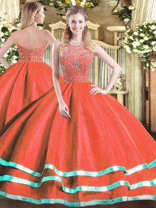 Great Red Sleeveless Beading Floor Length Sweet 16 Quinceanera Dress