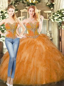 Sweetheart Sleeveless Lace Up 15th Birthday Dress Orange Red Organza