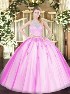 On Sale Floor Length Fuchsia Quinceanera Dresses Scoop Sleeveless Zipper