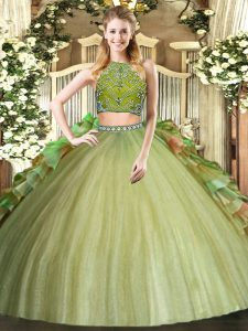 Olive Green Tulle Zipper High-neck Sleeveless Floor Length Ball Gown Prom Dress Beading and Ruffles