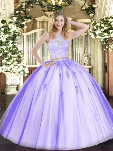 Trendy Scoop Sleeveless Tulle Quinceanera Gown Lace and Appliques Zipper