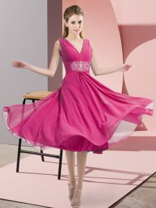 Hot Pink Sleeveless Knee Length Beading Side Zipper Dama Dress