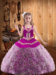 Multi-color Little Girl Pageant Dress Sweet 16 and Quinceanera with Embroidery and Ruffles V-neck Sleeveless Lace Up