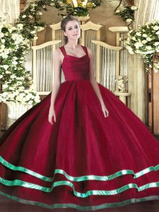 Wine Red Zipper Straps Ruffled Layers and Ruching Sweet 16 Dresses Organza Sleeveless