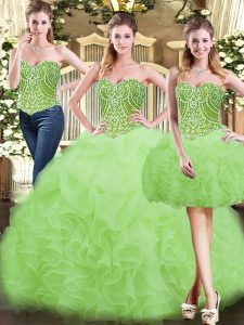 Noble Yellow Green Organza Lace Up Quinceanera Gowns Sleeveless Floor Length Beading and Ruffles