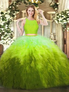 Decent Organza Sleeveless Floor Length 15 Quinceanera Dress and Lace and Ruffles