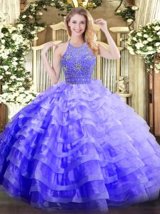 Glamorous Sleeveless Floor Length Beading and Ruffled Layers Zipper Quinceanera Gowns with Lavender