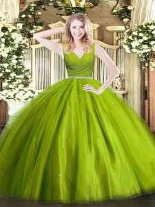 New Style Olive Green Tulle Zipper Sweet 16 Dress Sleeveless Floor Length Beading