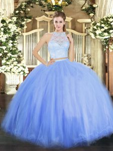Attractive Floor Length Two Pieces Sleeveless Blue Sweet 16 Quinceanera Dress Zipper