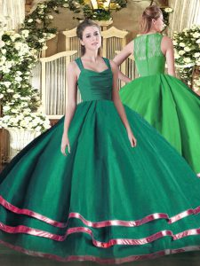 Floor Length Zipper 15 Quinceanera Dress Turquoise for Sweet 16 and Quinceanera with Ruffled Layers
