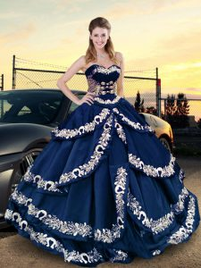 Sweetheart Half Sleeves Lace Up Sweet 16 Quinceanera Dress Navy Blue Satin