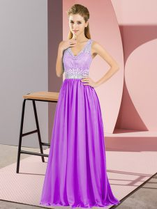 Chiffon V-neck Sleeveless Backless Beading and Lace in Purple