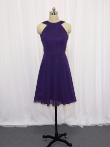 Glittering Purple Backless Prom Evening Gown Ruching Sleeveless Knee Length