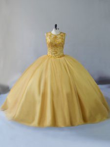 Glamorous Lace Up Vestidos de Quinceanera Gold for Sweet 16 and Quinceanera with Beading Brush Train