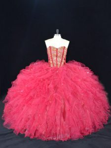 Eye-catching Coral Red Tulle Lace Up Sweetheart Sleeveless Quinceanera Dresses Beading and Ruffles