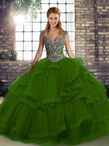 Pretty Tulle Straps Sleeveless Lace Up Beading and Ruffles Ball Gown Prom Dress in Green