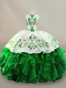 Dazzling Green Sleeveless Floor Length Embroidery and Ruffles Lace Up Quinceanera Dresses