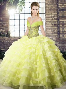 Pretty Yellow Organza Lace Up Off The Shoulder Sleeveless 15 Quinceanera Dress Brush Train Beading and Ruffled Layers