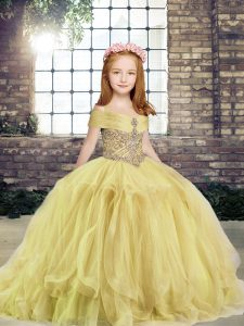 Floor Length Lace Up Pageant Dress for Teens Yellow for Military Ball and Wedding Party with Beading