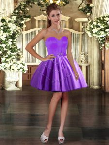 Purple Sleeveless Mini Length Appliques Lace Up Dress for Prom