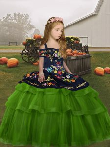 Ball Gowns Pageant Dress for Girls Green Straps Tulle Sleeveless Floor Length Lace Up