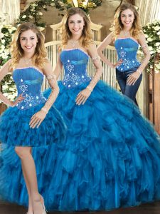 Nice Tulle Sleeveless Floor Length Sweet 16 Dresses and Beading and Ruffles